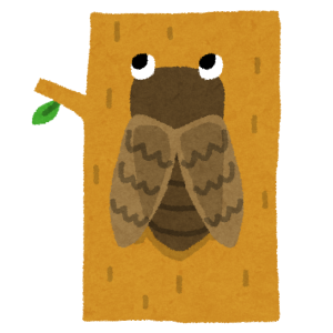 この「木にとまったセミ」のタイル絵がヤバいオッサンにしか見えないww
