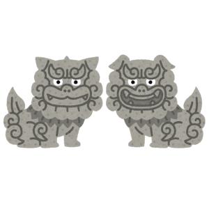 ある神社に祀られた狛犬が実にシュールだと話題にw 「人面犬みたいだ…」