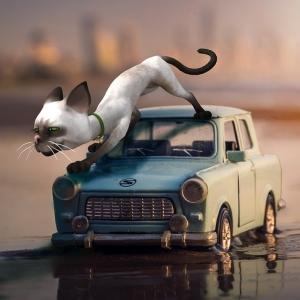 「気づいてなかったのかよ!」ボンネットの上で寝そべっていた猫をモフっていたら…🙀